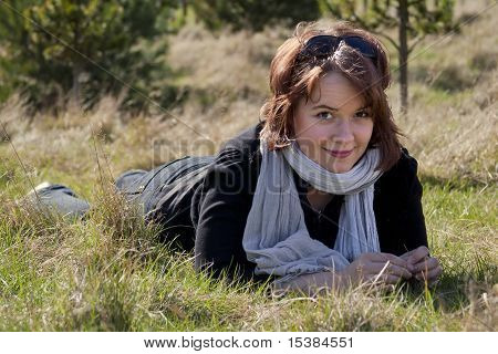 Woman in meadow