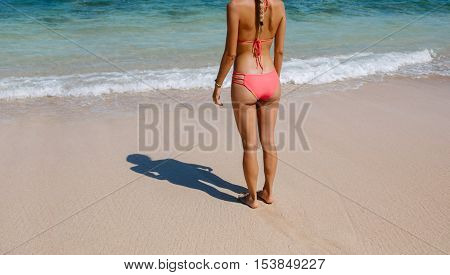 Rear view cropped shot of young woman in bikini standing on the beach. Young female in swimsuit on the sea shore.