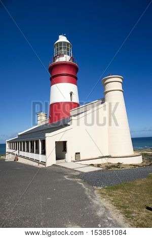 The lighthouse of Cape Agulhas at the most Southern point of Africa.