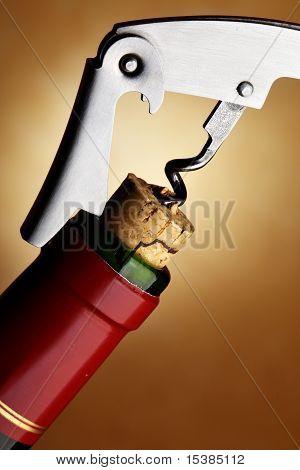 Cork-screw Opening Wine Bottle
