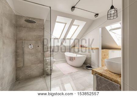 Modern Bathroom Interior With Minimalistic Shower