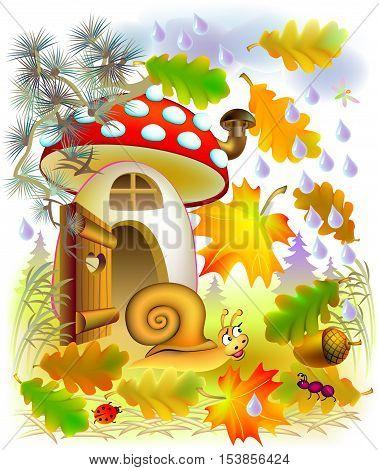 Illustration of autumn in fairyland forest, vector cartoon image.