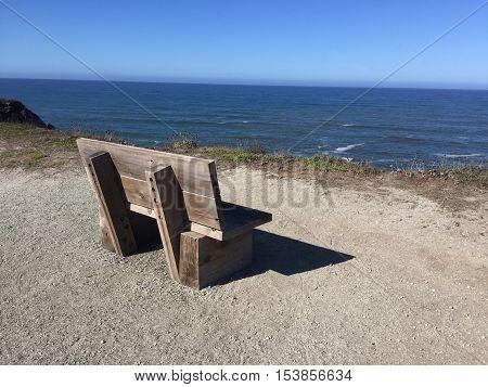 Bench Overlooking Beautiful Vista of Northern California Coastline