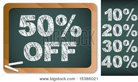 Sale Percentages On Blackboard With Chalk. Other Percentages In My Portfolio.