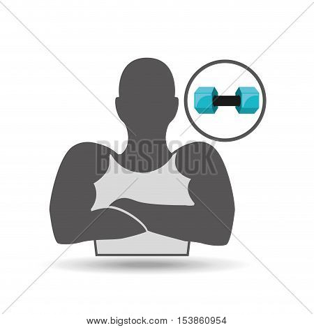 silhouette amrs crossed and dumbbell vector illustration eps 10