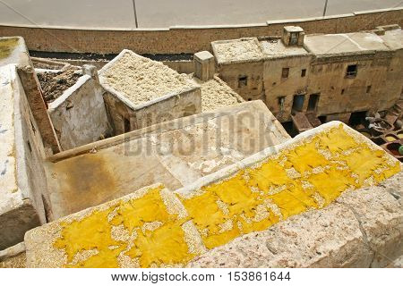 Yellow animal hudes dry on a rooftop after being tanned at leather tanneries near the Terrace de Tanneurs in the ancient medina Fes el Bali in Fez Morocco.