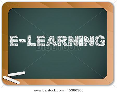 Blackboard With E-learning Message Written With Chalk