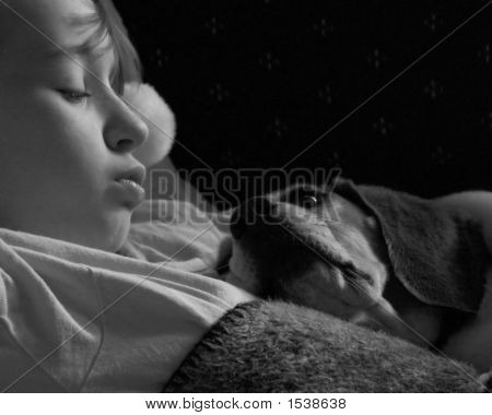 Child - Girl Sleeping With Pet Dog In Monochrome