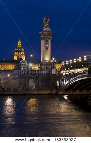 Alexandre III bridge in Paris Ile-de-france France