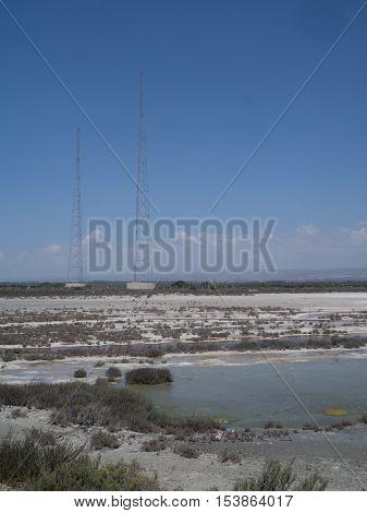 Portrait shot of the salt lake at Lady's Mile, Limassol, Cyprus