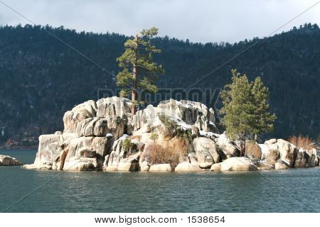 Rock Formation On Lake