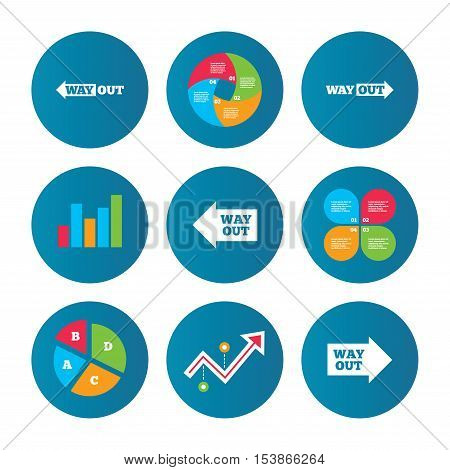 Business pie chart. Growth curve. Presentation buttons. Way out icons. Left and right arrows symbols. Direction signs in the subway. Data analysis. Vector