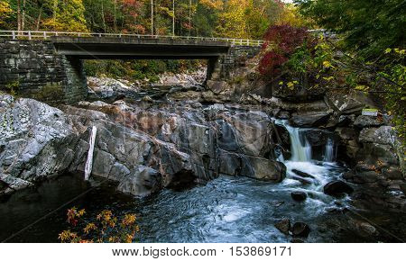 Great Smoky Mountains Road Trip. Bridge over the roadside Sinks waterfall on Little River Road in the Great Smoky Mountains National Park. Gatlinburg, Tennessee.