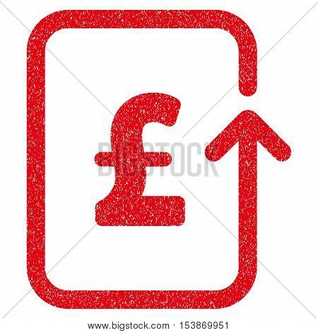 Reverse Pound Transaction grainy textured icon for overlay watermark stamps. Flat symbol with scratched texture. Dotted vector red ink rubber seal stamp with grunge design on a white background.