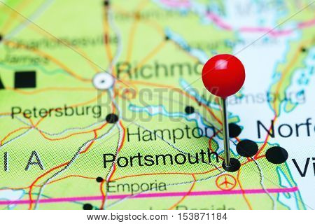 Portsmouth pinned on a map of Virginia, USA
