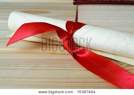 Diploma Scroll On Table