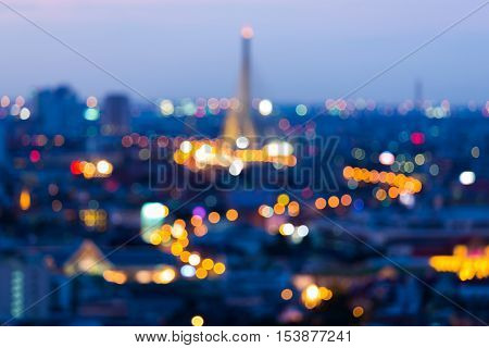 Burred lights night view city and bridge, abstract background