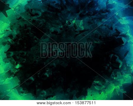 Green neon and dark abstract background illustration design