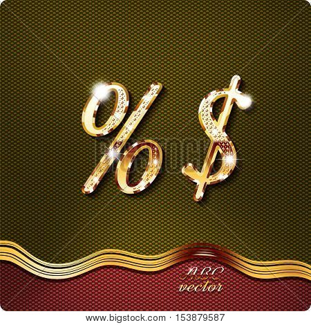 Golden stylish Inlaid The percent sign, the dollar, with shadow and glare. italic type .vector eps10.