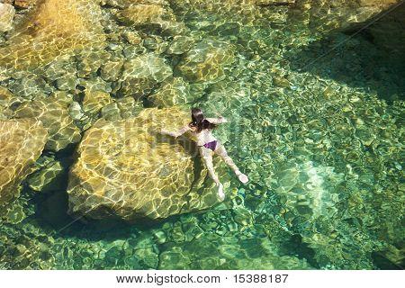 Woman Swimming On The Rocks