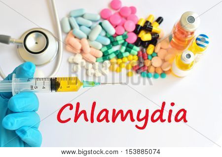 Various of drugs for Chlamydia treatment, medical concept