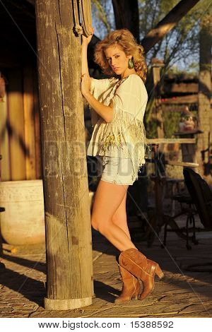 Cowgirl On Patio