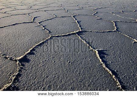 Structure on Salar de Uyuni, salt lake, is largest salt flat in the world, altiplano, Bolivia, South America