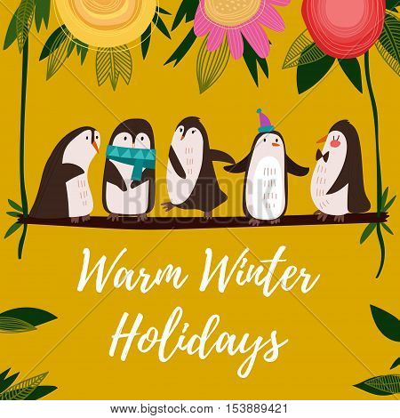 Warm Winter Holidays Card.funny Composition With Cute Penguins.concept Cartoon  Card In Bright Color