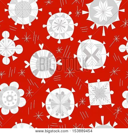 Seamless Winter Pattern For Christmas With Snowflakes On A Red Background.illustration Of Christmas