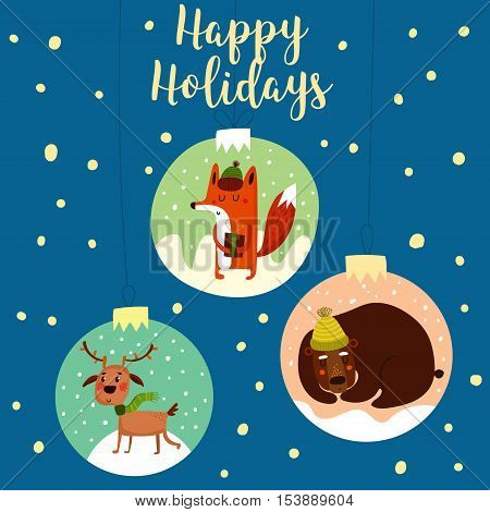 Funny Merry Christmas Card.stylish Holiday Card With Cute Fox,deer And Bear In Vector. Bright Cartoo