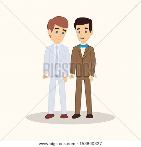 Gay Wedding Couple In Suits. Vector Cartoon Style Illustration. Same-sex Family. Two Caucasian Men G