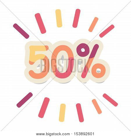 Sale vector concept. Flat design. Fifty percent discount bright colored numbers with lines. For store goods sales and discounts advertising. Product label design. Black friday. On white background