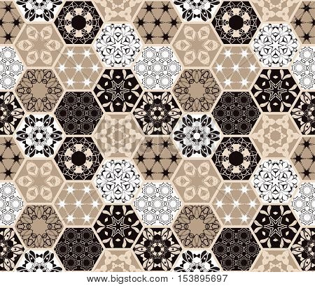 Luxury oriental hexagonal ceramic tiles. Colorful floral seamless pattern. Patchwork background with rich flower ornament and mandala. Portuguese moroccan motif.