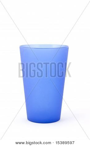 Blue Plastic Cup On White