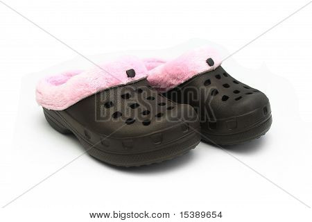 Isolated Little Girls Rubber Shoes