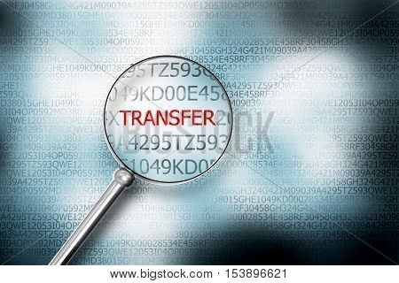 reading transfer on screen magnifying glass 3D Illustrastion