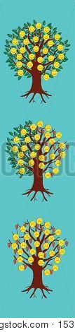 Emoticon emoji set. Trees with emoticons. Trendy Bookmark Stickers Character Design illustration