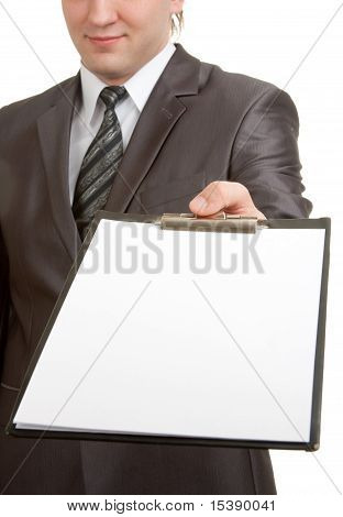 Businessman Showing Clipboard