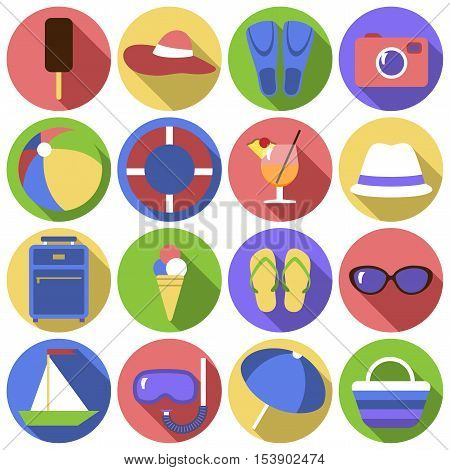 Icon set. Flat travel objects. Umbrella ball beach wallet cocktail diving mask tube lifebuoy shale suitcase camera hat boat fins goggles popsicle ice cream beach bag collection. Vector illustration. Grouped for easy editing.