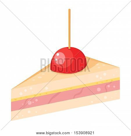 Sweet cake isolated on white. Traditional sweet cake holliday vector. Cake food sweet vector. Food fresh cake