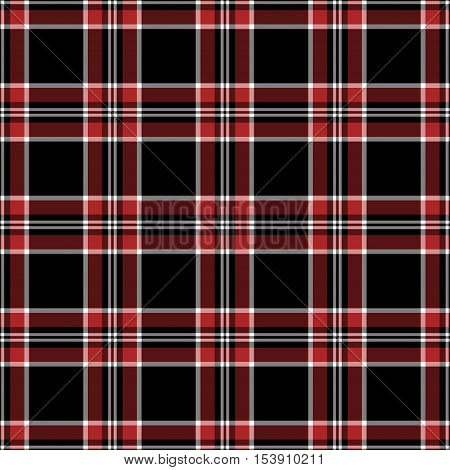 Black red and white plaid seamless pattern