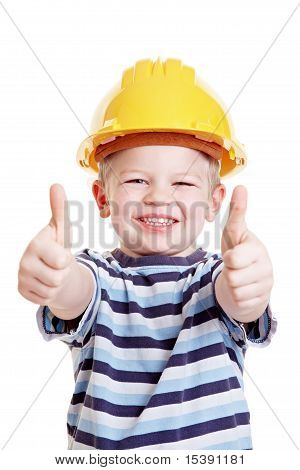Child Dressed Up As Constructuon Worker