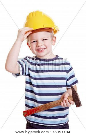Boy Dressed Up As Construction Worker