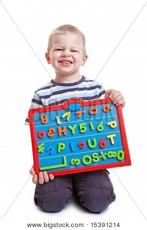 Little Boy With Magnetic Board