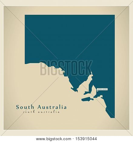 Modern Map - South Australia AU vector