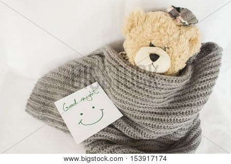 good night message card and teddy bear sleep in blanket wool