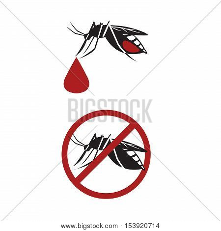 Vector of mosquitoes drink blood on white background.