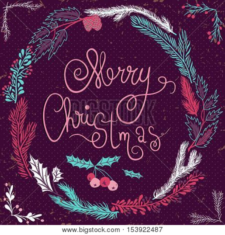 Merry Christmas Card. Christmas Wreath. Christmas wreath with twigs and berries. Vector Illustration