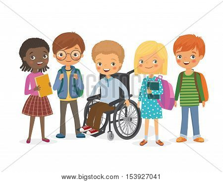 Disabled child in a wheelchair with his friends. Pupils girls and boys. International kids with backpacks and books with his friend a disabled. Vector illustration