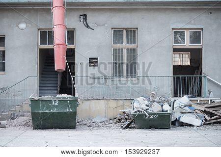 Restoration of old building detail . .
